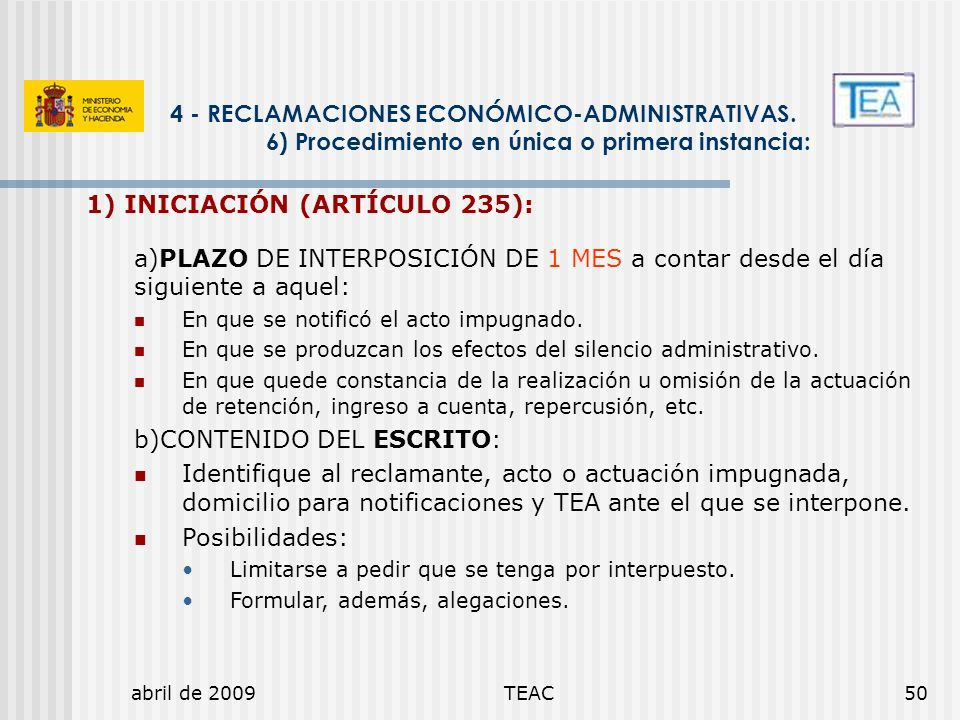 1) INICIACIÓN (ARTÍCULO 235):