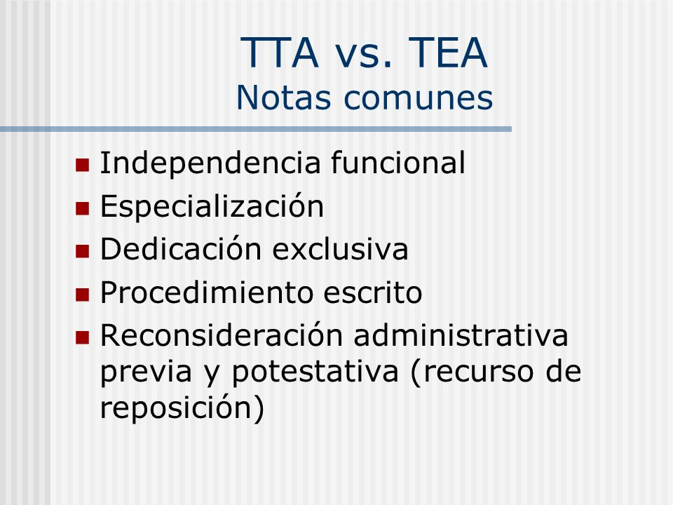 TTA vs. TEA Notas comunes