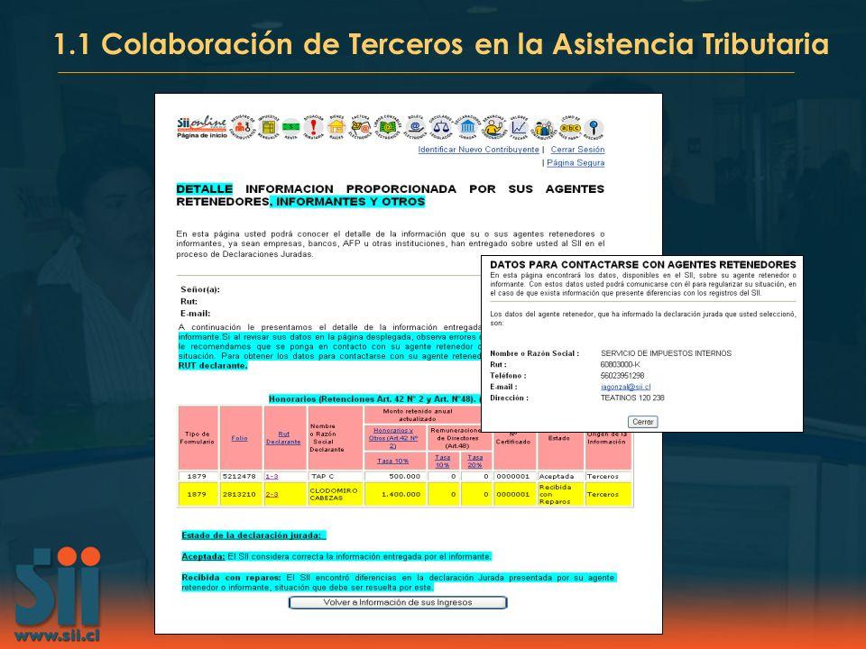 1.1 Colaboración de Terceros en la Asistencia Tributaria