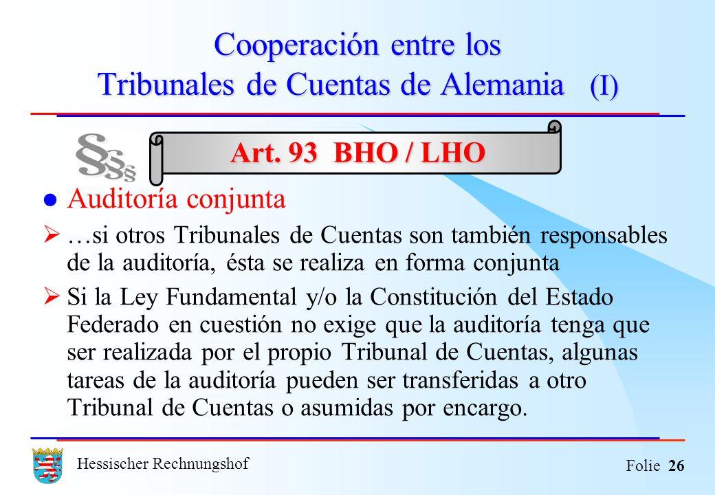 Cooperación entre los Tribunales de Cuentas de Alemania (I)