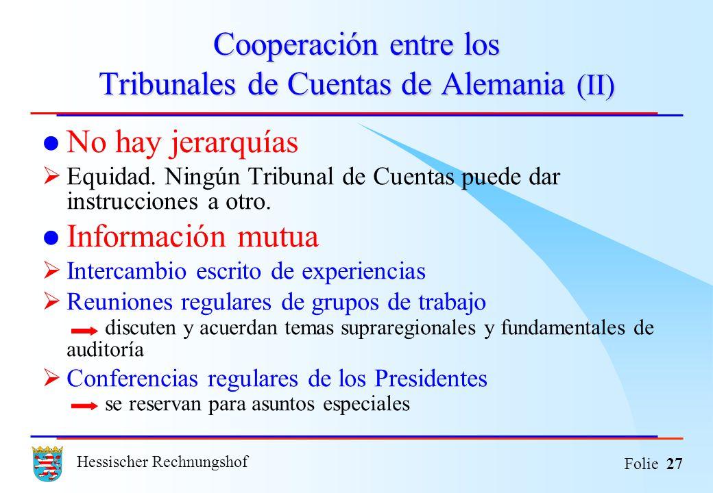 Cooperación entre los Tribunales de Cuentas de Alemania (II)