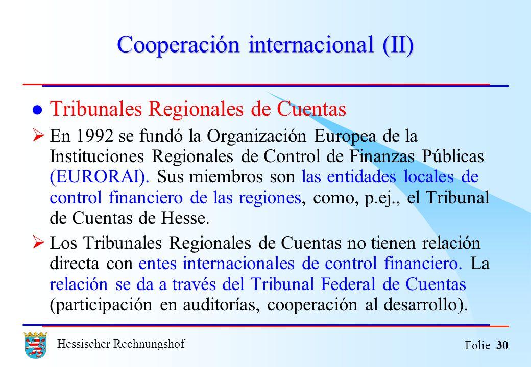 Cooperación internacional (II)