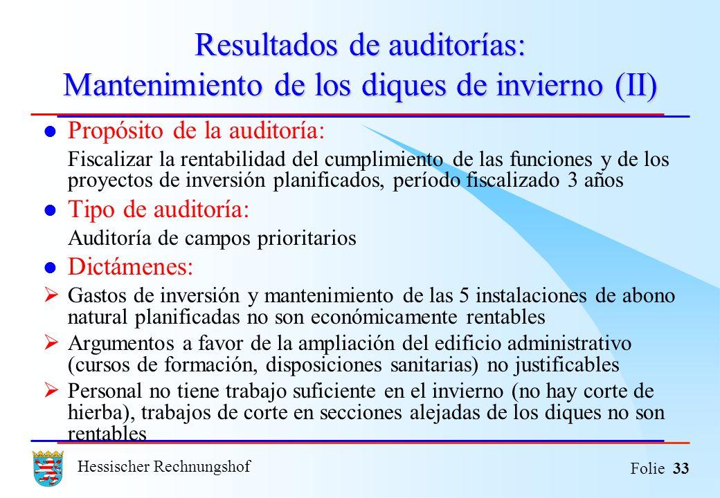 Resultados de auditorías: Mantenimiento de los diques de invierno (II)