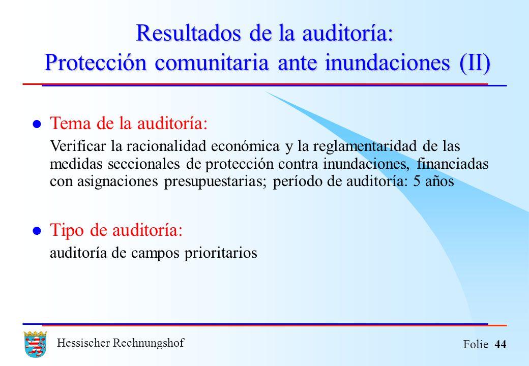 Resultados de la auditoría: Protección comunitaria ante inundaciones (II)