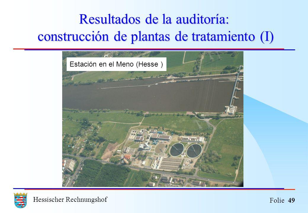Resultados de la auditoría: construcción de plantas de tratamiento (I)