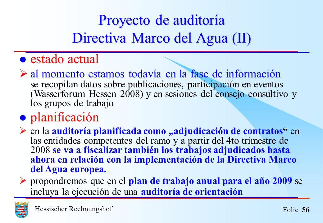 Proyecto de auditoría Directiva Marco del Agua (II)
