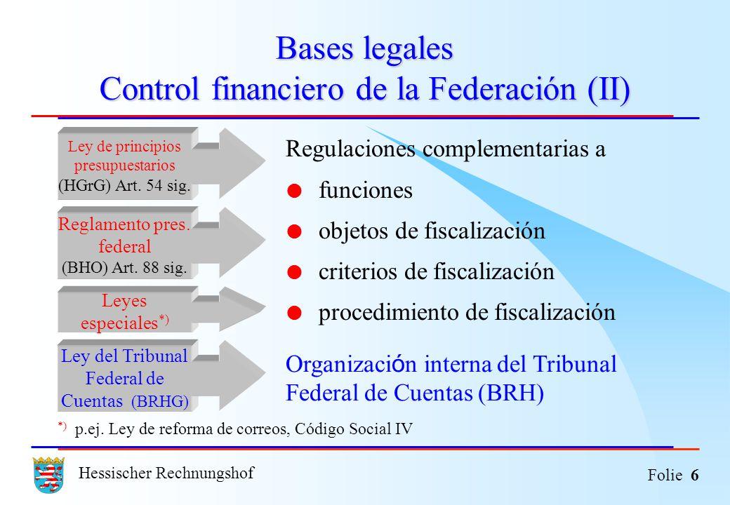 Bases legales Control financiero de la Federación (II)