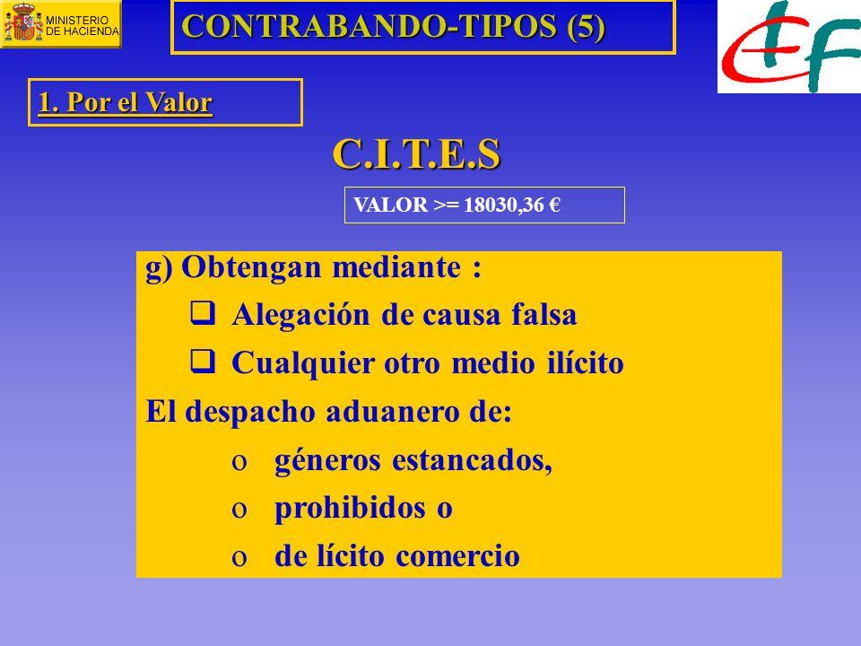 C.I.T.E.S CONTRABANDO-TIPOS (5) g) Obtengan mediante :