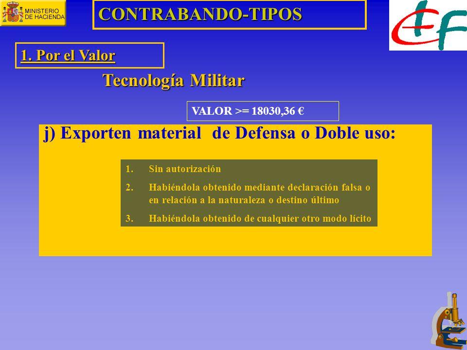 j) Exporten material de Defensa o Doble uso: