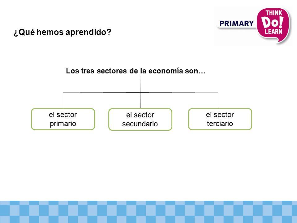 ¿Qué hemos aprendido Los tres sectores de la economía son…