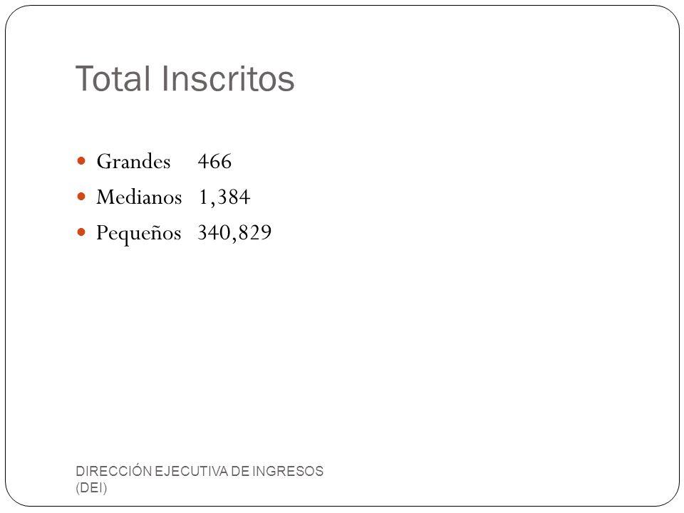Total Inscritos Grandes 466 Medianos 1,384 Pequeños 340,829