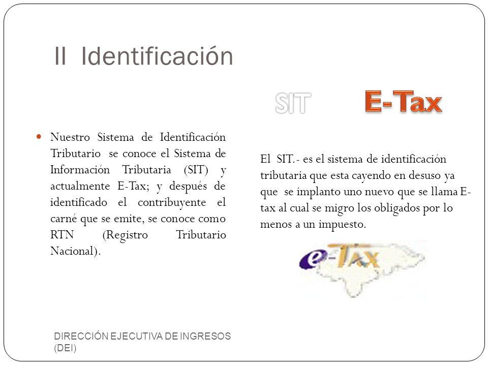 E-Tax II Identificación SIT