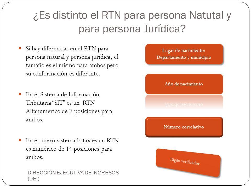 ¿Es distinto el RTN para persona Natutal y para persona Jurídica