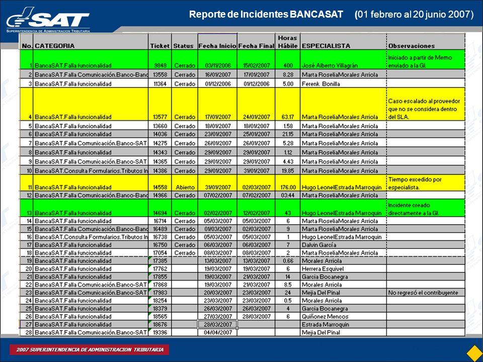 Reporte de Incidentes BANCASAT (01 febrero al 20 junio 2007)