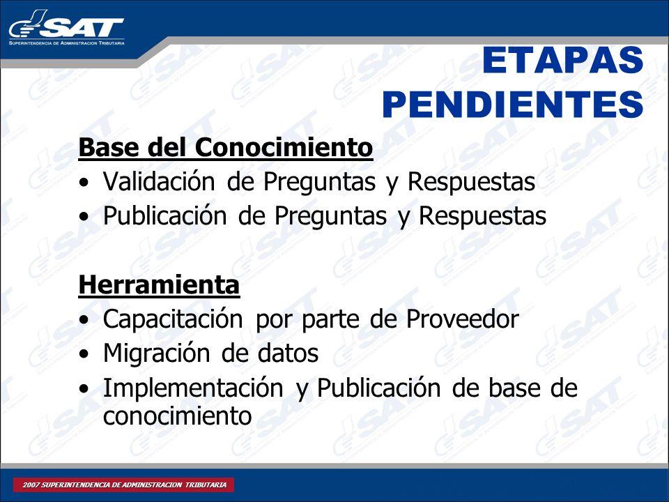ETAPAS PENDIENTES Base del Conocimiento