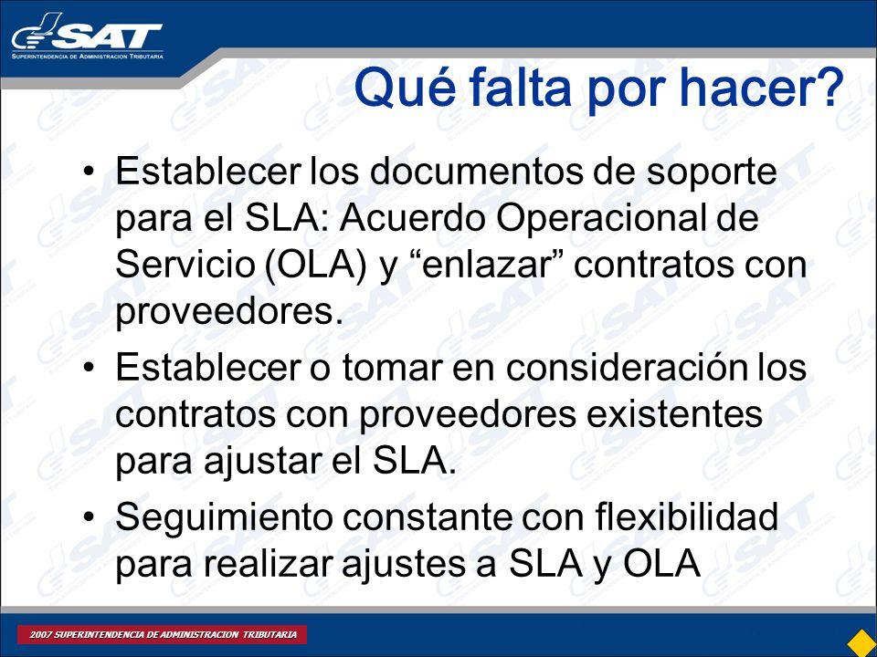 Qué falta por hacer Establecer los documentos de soporte para el SLA: Acuerdo Operacional de Servicio (OLA) y enlazar contratos con proveedores.