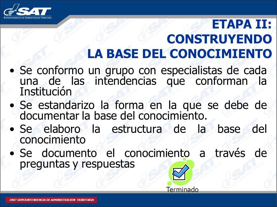 ETAPA II: CONSTRUYENDO LA BASE DEL CONOCIMIENTO