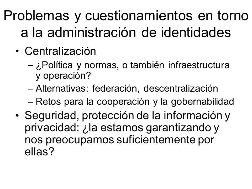 Problemas y cuestionamientos en torno a la administración de identidades