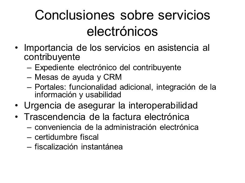 Conclusiones sobre servicios electrónicos