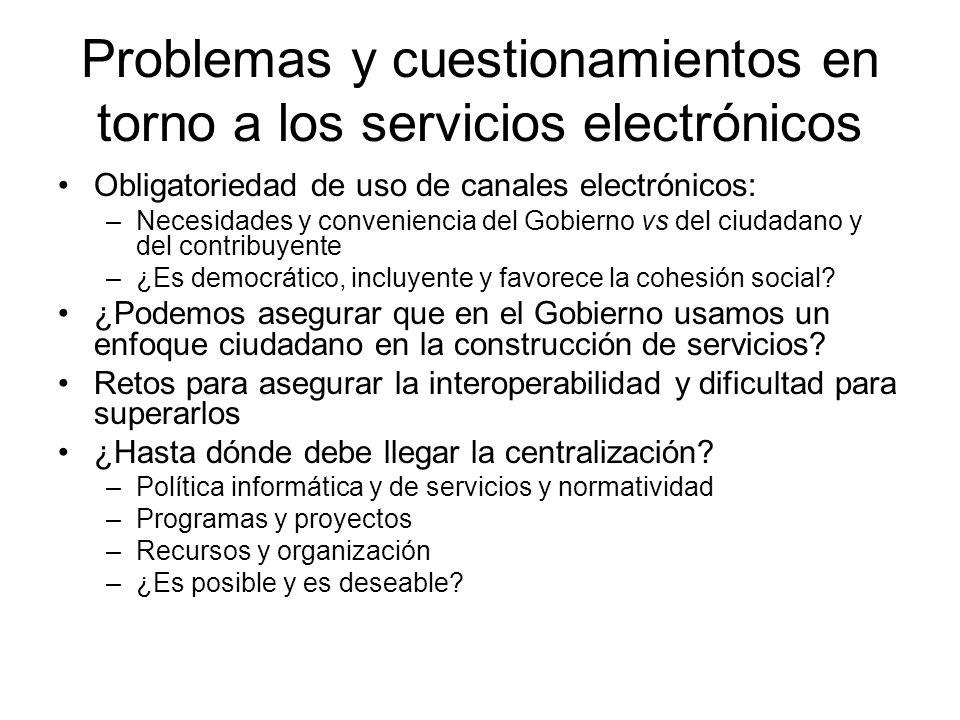 Problemas y cuestionamientos en torno a los servicios electrónicos