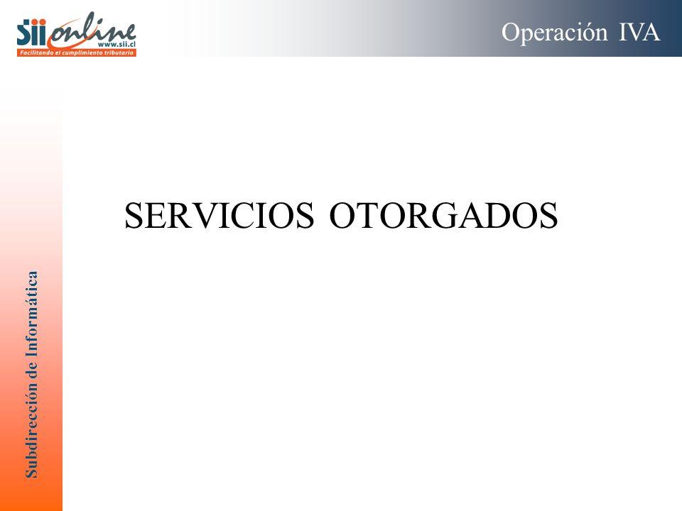 Operación IVA SERVICIOS OTORGADOS