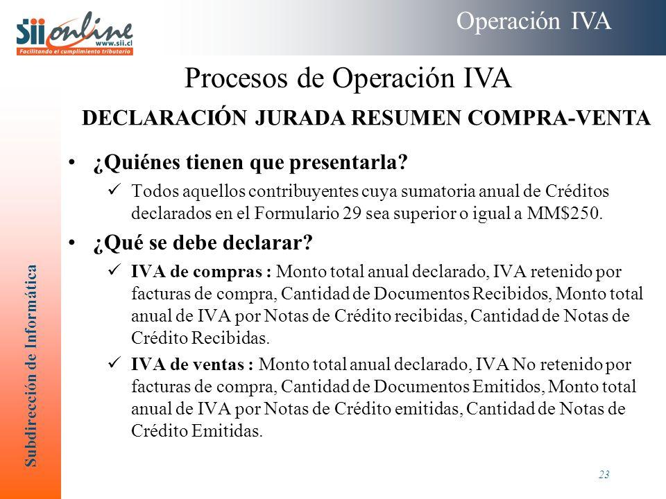 DECLARACIÓN JURADA RESUMEN COMPRA-VENTA