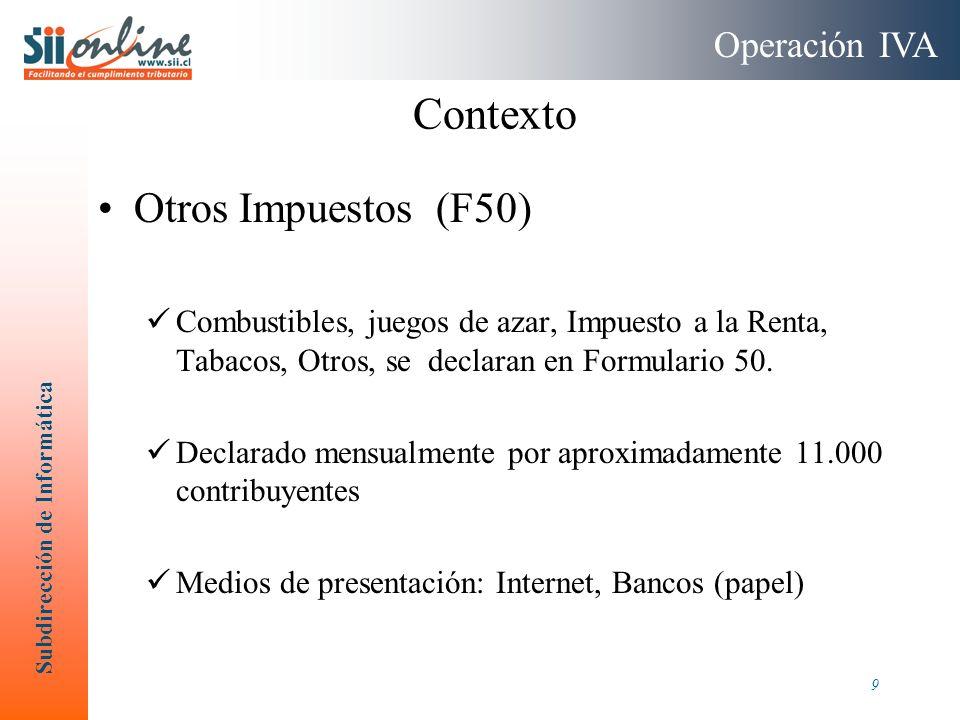 Contexto Otros Impuestos (F50) Operación IVA