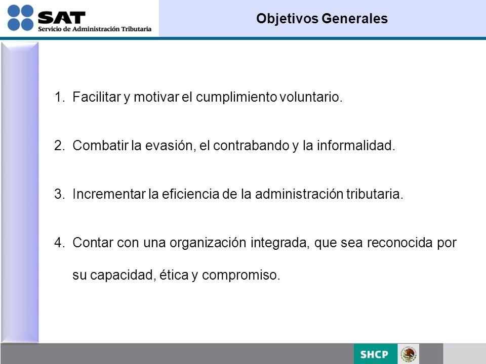 Objetivos Generales Facilitar y motivar el cumplimiento voluntario. Combatir la evasión, el contrabando y la informalidad.