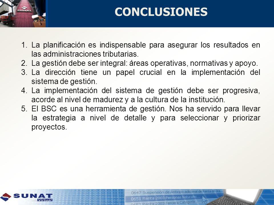 CONCLUSIONES La planificación es indispensable para asegurar los resultados en las administraciones tributarias.