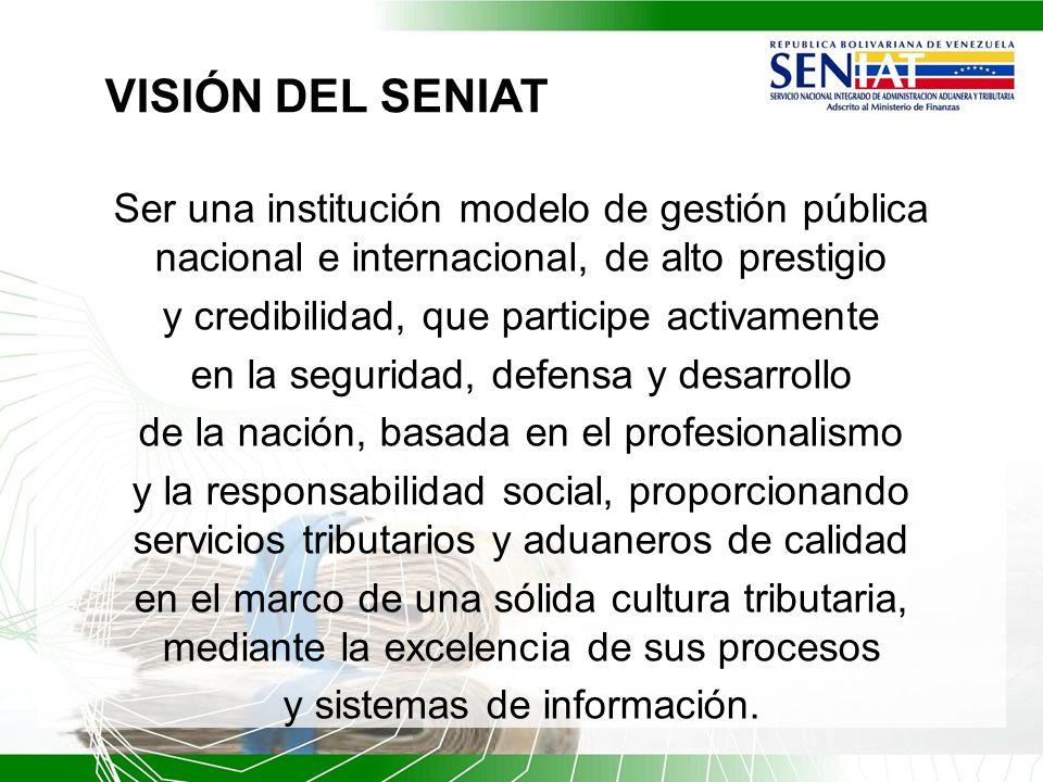VISIÓN DEL SENIAT Ser una institución modelo de gestión pública nacional e internacional, de alto prestigio.