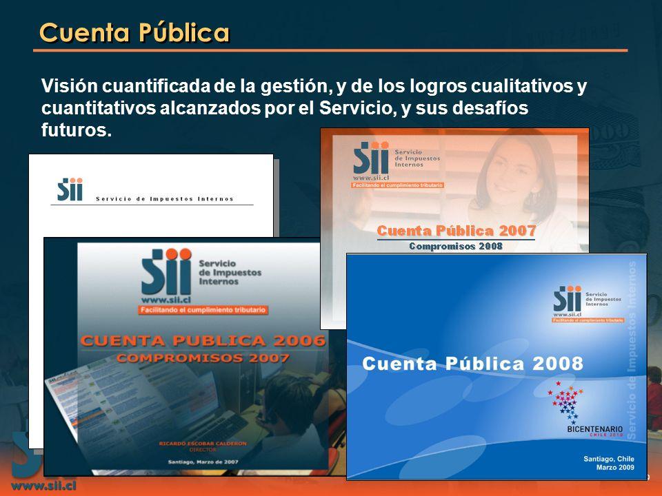 Cuenta Pública Visión cuantificada de la gestión, y de los logros cualitativos y cuantitativos alcanzados por el Servicio, y sus desafíos futuros.