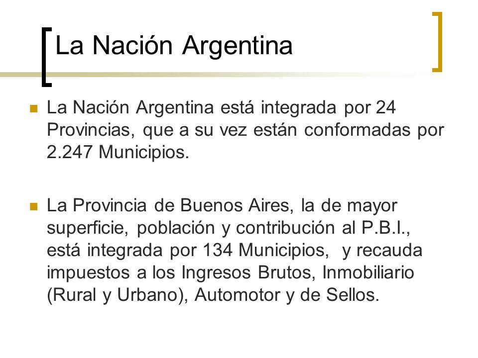 La Nación Argentina La Nación Argentina está integrada por 24 Provincias, que a su vez están conformadas por 2.247 Municipios.