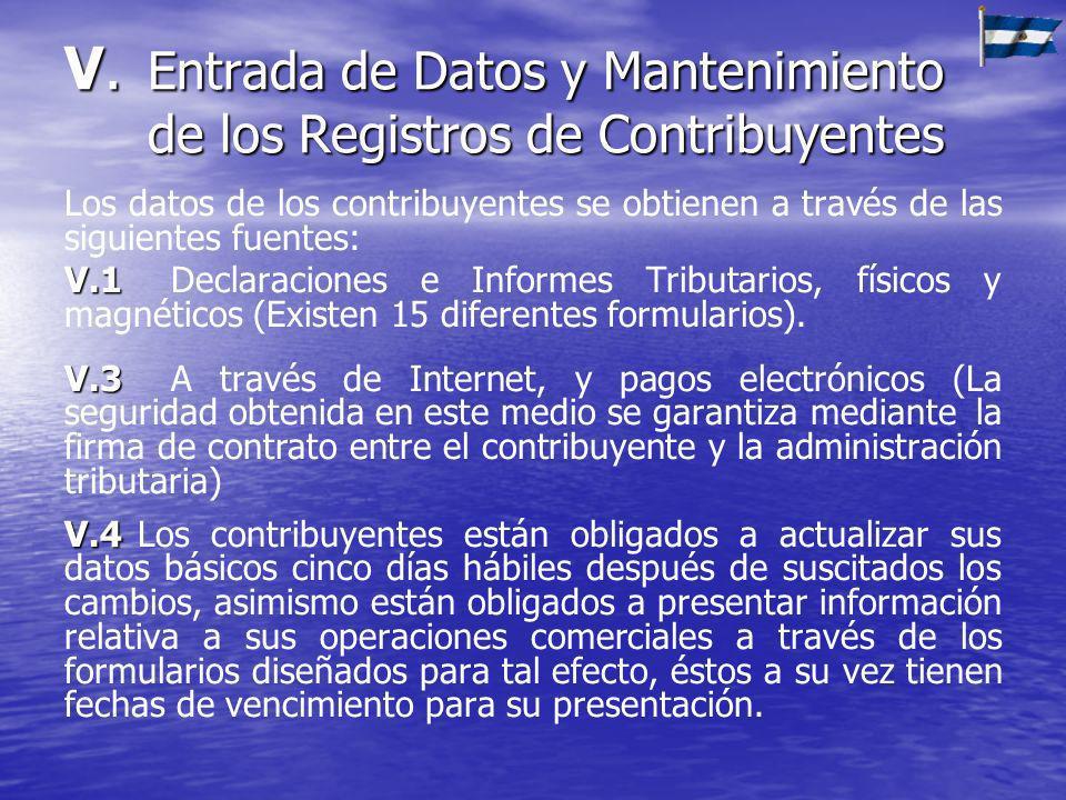 V. Entrada de Datos y Mantenimiento de los Registros de Contribuyentes
