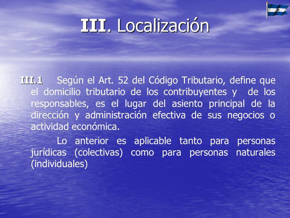 III. Localización