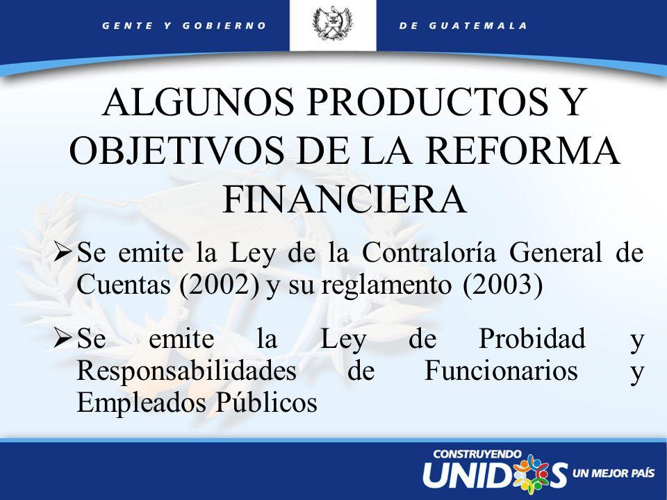 ALGUNOS PRODUCTOS Y OBJETIVOS DE LA REFORMA FINANCIERA
