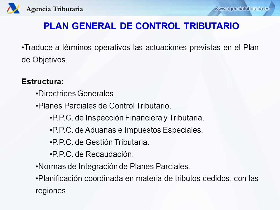 PLAN GENERAL DE CONTROL TRIBUTARIO