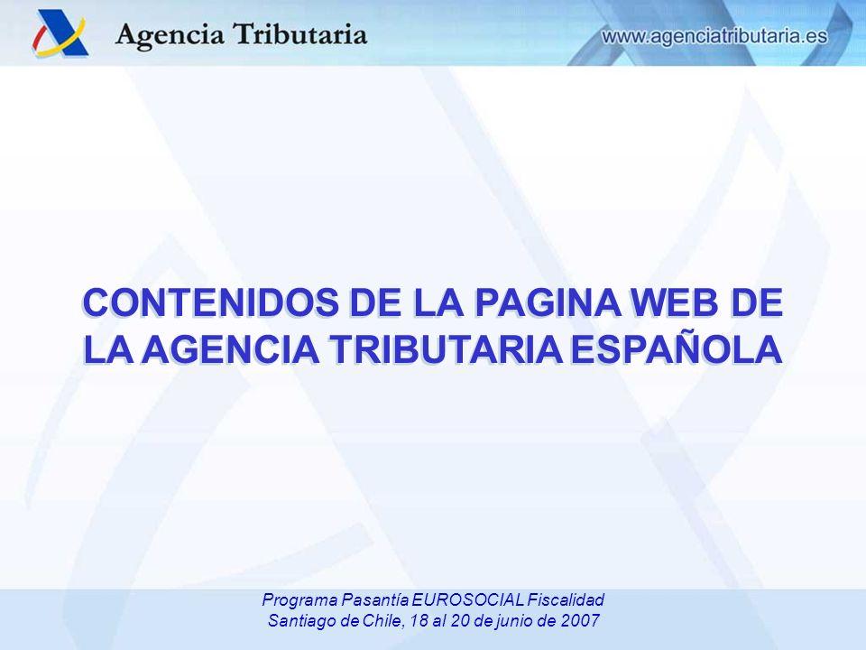 CONTENIDOS DE LA PAGINA WEB DE LA AGENCIA TRIBUTARIA ESPAÑOLA