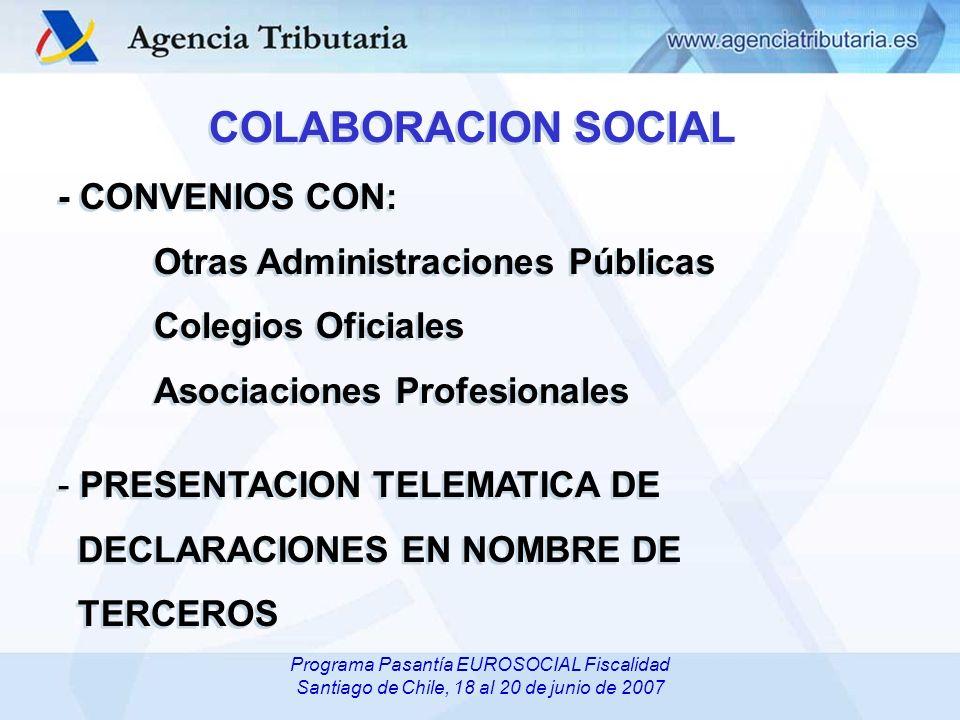 COLABORACION SOCIAL - CONVENIOS CON: Otras Administraciones Públicas