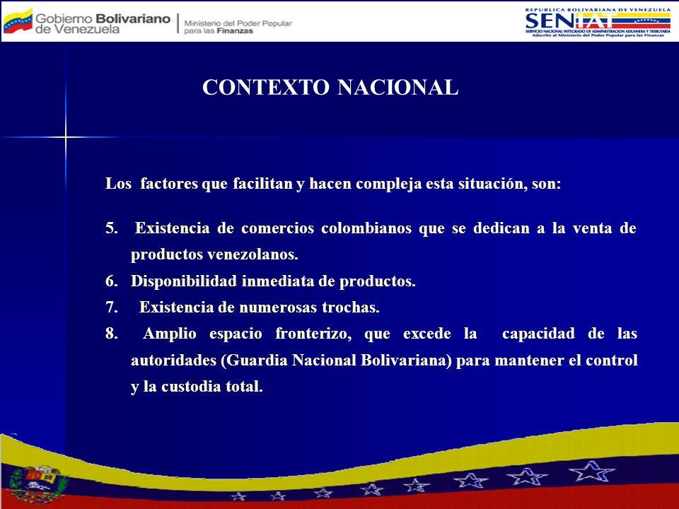 CONTEXTO NACIONAL Los factores que facilitan y hacen compleja esta situación, son: