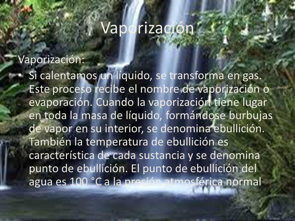 Vaporización Vaporización: