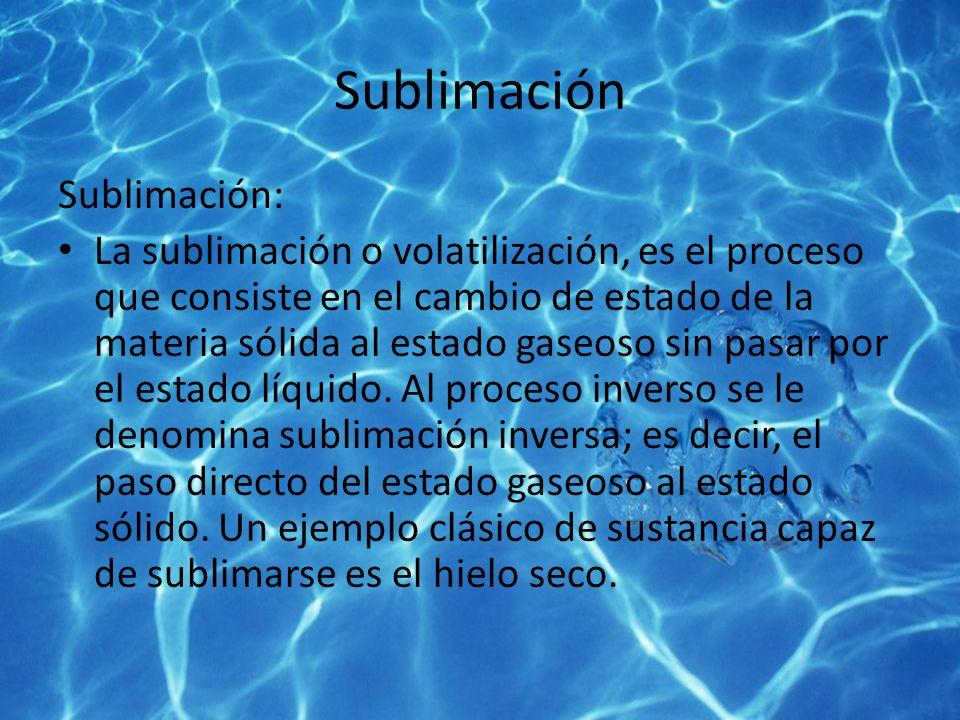 Sublimación Sublimación: