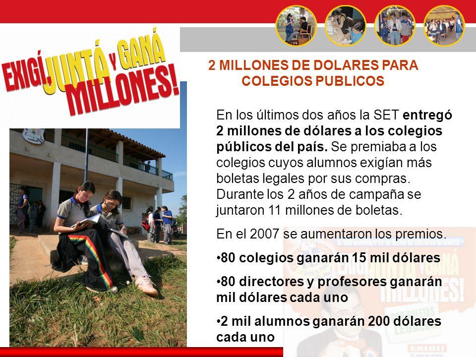 2 MILLONES DE DOLARES PARA COLEGIOS PUBLICOS