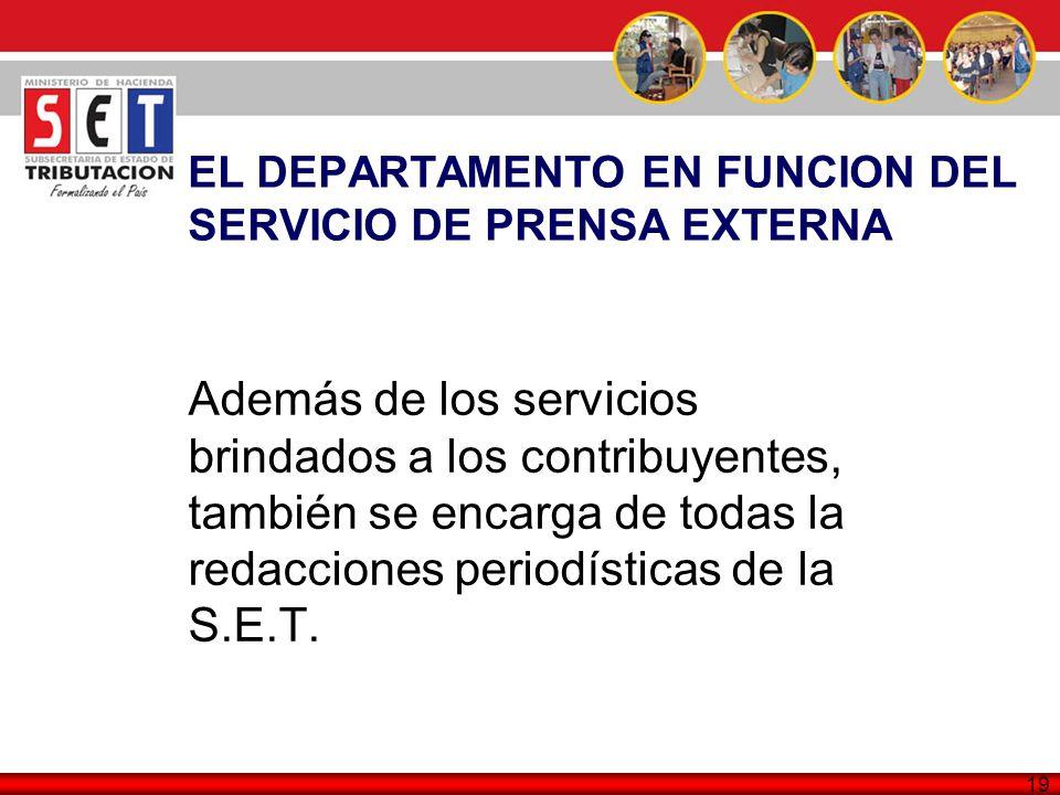 EL DEPARTAMENTO EN FUNCION DEL SERVICIO DE PRENSA EXTERNA