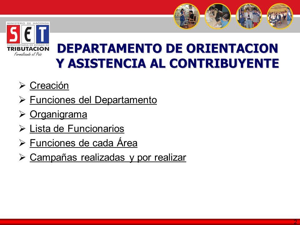 DEPARTAMENTO DE ORIENTACION Y ASISTENCIA AL CONTRIBUYENTE