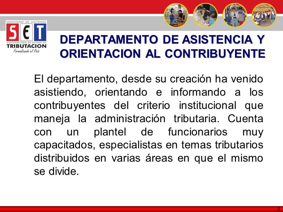 DEPARTAMENTO DE ASISTENCIA Y ORIENTACION AL CONTRIBUYENTE