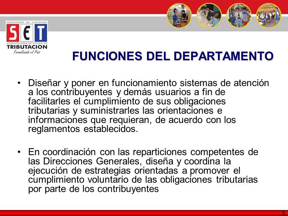 FUNCIONES DEL DEPARTAMENTO