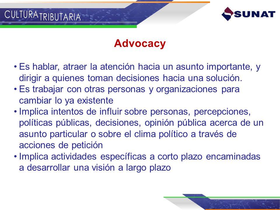 Advocacy Es hablar, atraer la atención hacia un asunto importante, y dirigir a quienes toman decisiones hacia una solución.