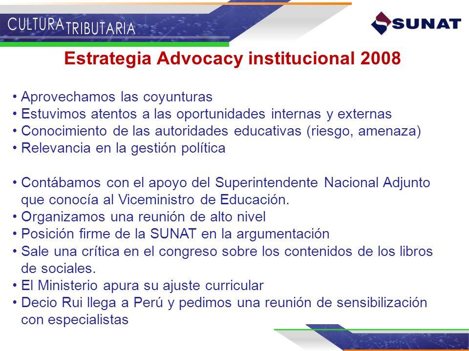 Estrategia Advocacy institucional 2008