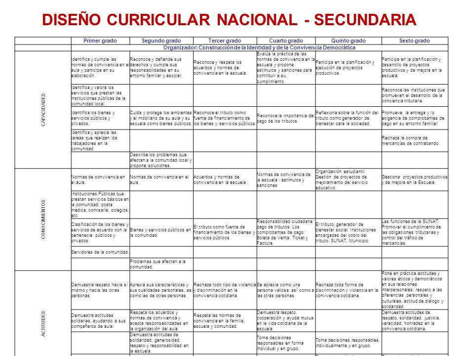 DISEÑO CURRICULAR NACIONAL - SECUNDARIA