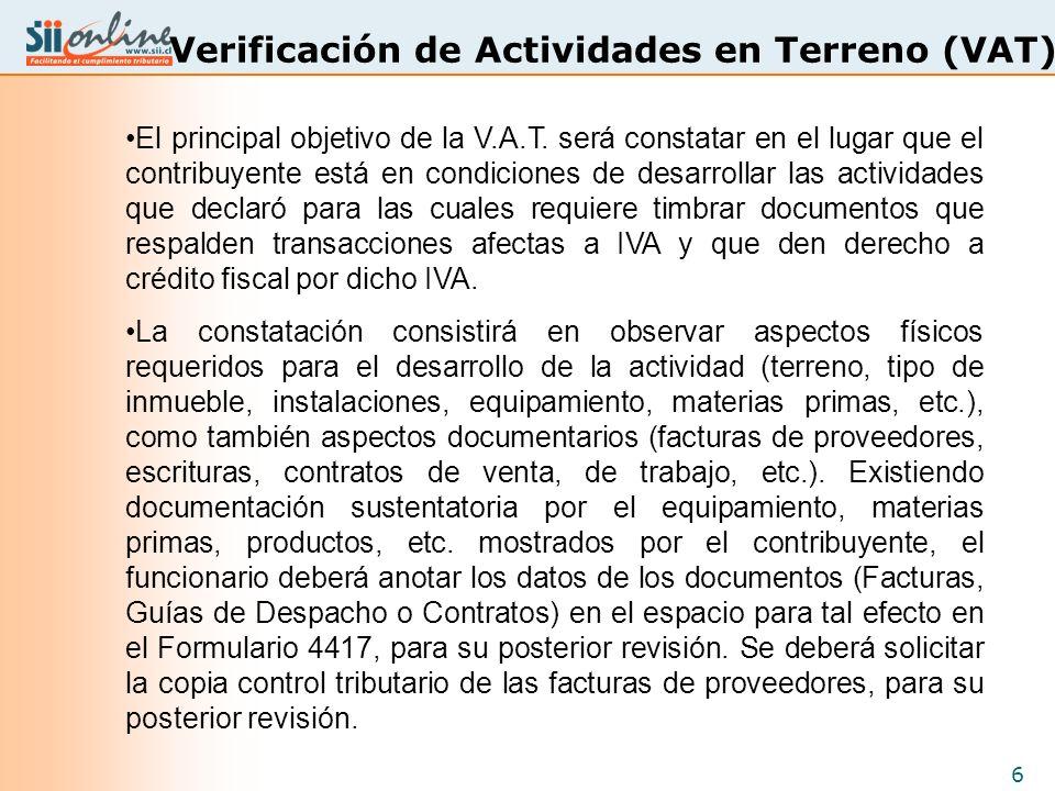 Verificación de Actividades en Terreno (VAT)